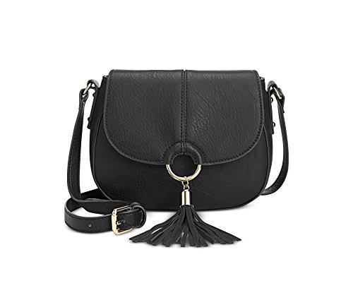 INC Womens Emerson Tassel Adjustable Saddle Bag Black Small ()