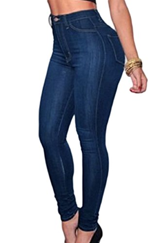 Las Mujeres Jeans Cintura Alta Basic Edition Slim Fit Denim Pantalones Elásticos Azul