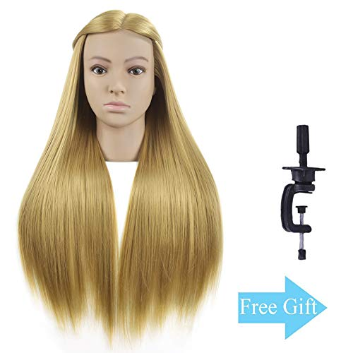 """Beauty : 28"""" Super Long Cosmetology Mannequin Manikin Synthetic Fiber Training Head Doll Head with Free Clamp (brown)"""