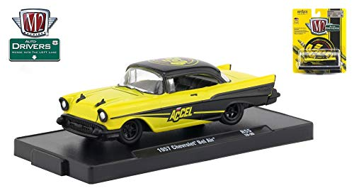 M2 Machines 1957 Chevrolet Bel Air (Accel) Auto-Drivers Release 55 - Castline 2019 Special Edition 1:64 Scale Die-Cast Vehicle & Custom Display Base (R55 18-35) ()