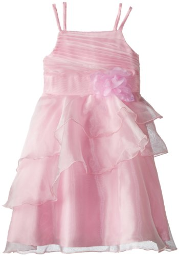 Bonnie Jean Big Girls' Sleeveless Solid Organza Dress with Side Cascade Skirt, Pink, 12 - Side Cascade