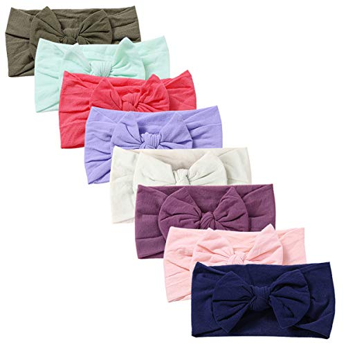 Baby Girl Nylon Headbands Newborn Infant Toddler Hairbands and Bows Child Hair Accessories (ZM042-8pcs)