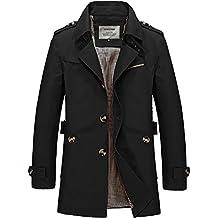DAVID.ANN Men's Windbreaker Notch Lapel Single Breasted Coat