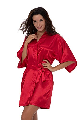 ShinyLuck Women's Satin Short Kimono Robe Solid Color Dressing Gown Bridal Party Robe (Small, Red) ()