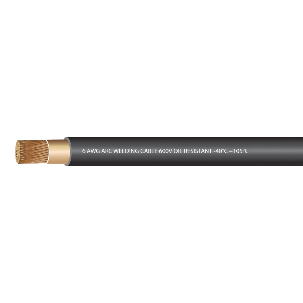 EWCS 6 Gauge Premium Extra Flexible Welding Cable 600 Volt - Black - 25 Feet - Made in the USA by EWCS