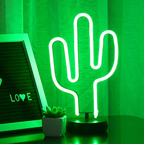 Bolylight Led Neon Light Sign with Base Night Light Glowing Decorative Table Lamp Party Supplies Centerpiece for Room Party Festival Decorations (Green ()