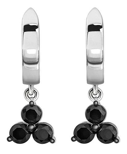 10k Number Dangle Earring - Prism Jewel 0.48 Carat Round 2.50MM Black Color Diamond Drop Dangle Earring, 10k White Gold