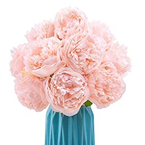 CEWOR 2 Pack Artificial Silk Peony Fake Flowers Bouquet (Peach Color) for Home Bridal Wedding Party Festival Bar Decor, 5 Stem Per Set 32