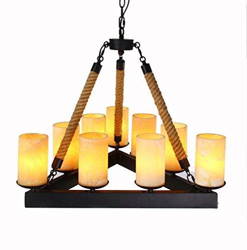 TUNBG 220V 8E14 (Without Bulb) LOFT Vintage Industrial Marble Hemp Rope Pendant lamp/Nostalgic Iron Restaurant Bar Cafe Candlestick Chandelier Lighting,8060CM