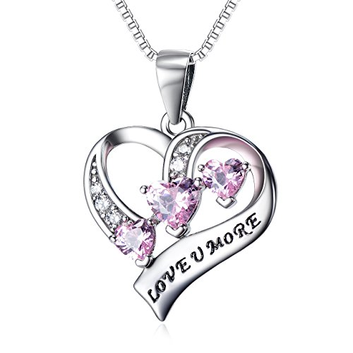 YFN Engraved Love You More Sterling Silver Pink Jewelry Crystal Eternity Heart Necklace Pink Heart
