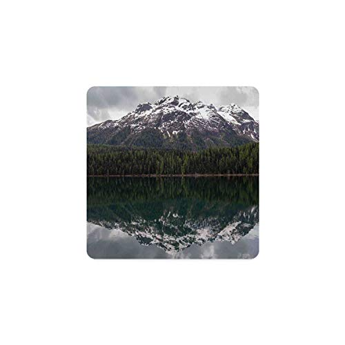 Landscape Square Coaster,Lake St. Moritz in Switzerland Upper Engadin Valley Snowy Mountains for Home,3.5