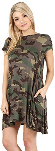- Casual T Shirt Dress for Women Flowy Tunic Dress with Pockets Reg and Plus Size - USA (Size Medium, Army Print-Shrt Slve)