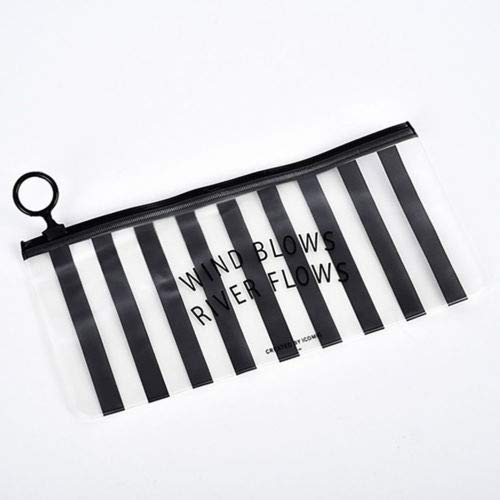 Lady Travel Cosmetic MakeUp Toiletry Bag Clear Transparent Waterproof PVC Zipper (Size - 1122.5CM Stripe)