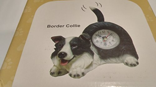Wagging Table Clock - Art International Assorted Dog And Cats Critter Desk Clocks With Wagging Tail (Border Collie)