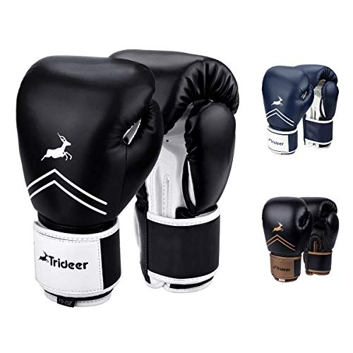 Trideer Pro Grade Boxing Gloves, Kickboxing Bagwork Gel Sparring Training Gloves, Muay Thai Style Punching Bag Mitts, Fight Gloves Men & Women (Black & White, 12 oz)