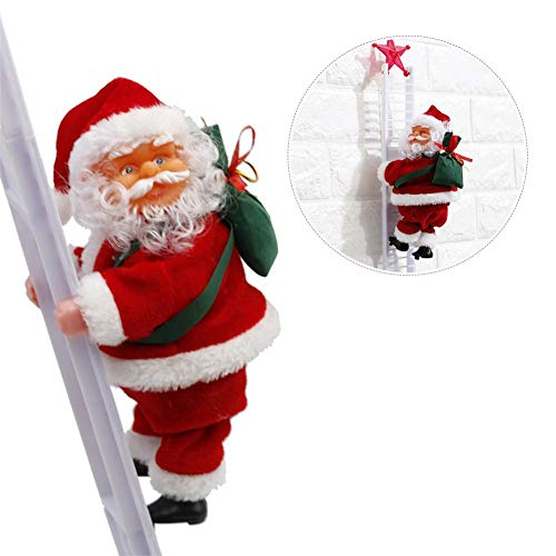 Sundlight Electric Santa Claus Climbing Ladder Doll Decoration Plush Doll Toy for Xmas Party Home Door Wall Decoration