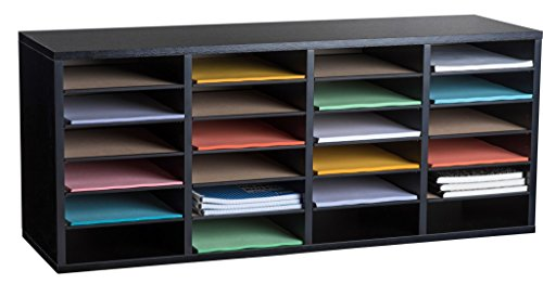 AdirOffice Wood Adjustable Literature Organizer (24 Compartment, Black)