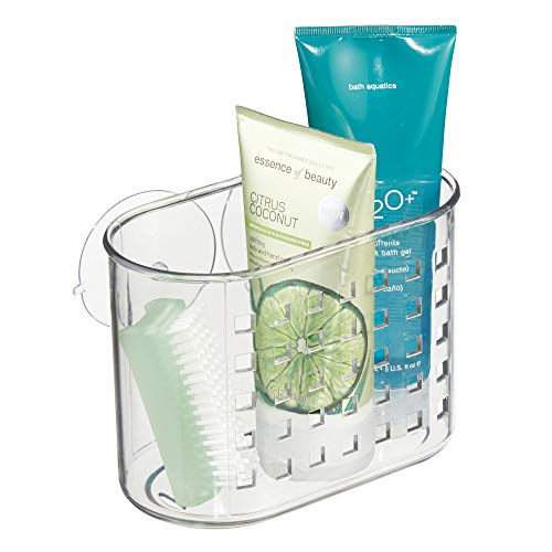 InterDesign Suction Bathroom Caddy – Shower Storage Shelf for Soaps and Sponges, Clear
