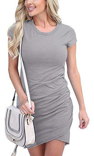 Summer Tshirt Dresses for Women Casual Ruched Irregular Bodycon Short Mini Dress (XX-Large, z-Gray)