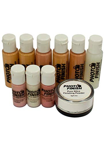 AIRBRUSH MAKEUP, KIT-FOUNDATION SET 10 peice set. Matte finish