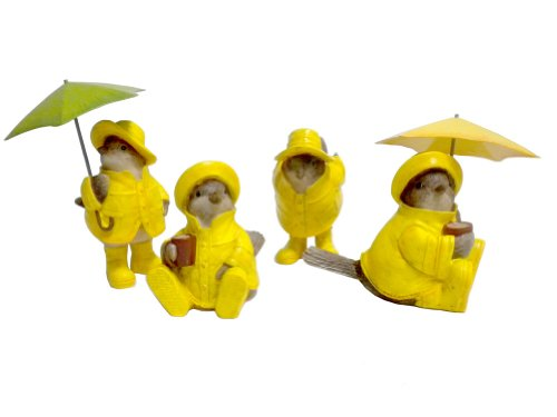 Showers springtime Figurine Raincoats umbrellas