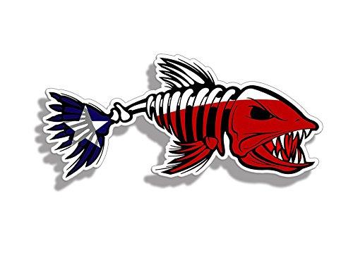 Texas TX State Flag Bone Fish Sticker - Fishing Decal Vinyl Die Cut Car Truck Laptop Graphic ()