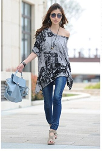 Women Batwing Sleeve Oversize T Shirt Casual Loose Long Tops Blouse (M=US6-8, Gray)