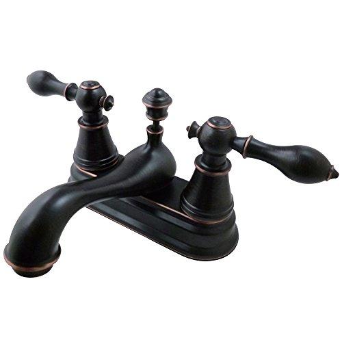 Kingston Brass FSY3606AL English Classic Two Handle 4-inch Centerset Lavatory Faucet, Naples Bronze ()
