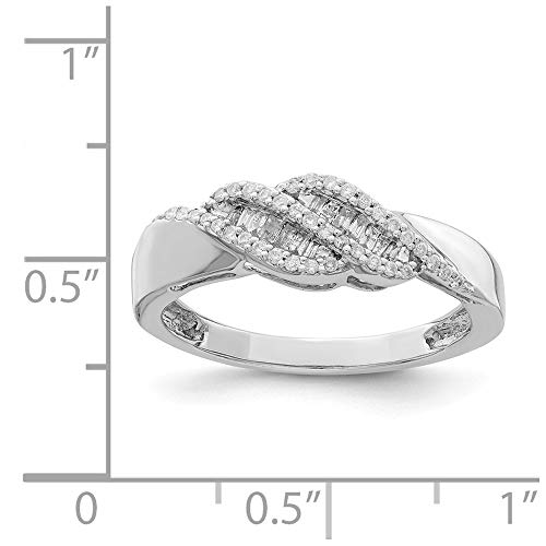 Sterling Silver Rhodium Plated 0.21ct Diamond Baguette Swirl Ring (Color H-I, Clarity SI2-I1)