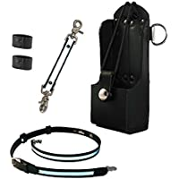 Boston Leather Firefighter Bundle- Anti-Sway Strap for Radio Strap, Radio Strap / Belt, Firefighters Radio Holder (for Motorola HT750 / HT1250)
