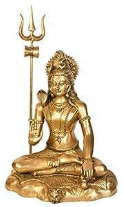 Exotic India Blessing Lord Shiva - Estatua de la montaña (latón, oro, 55,88 x 44,45 x 67,31 cm)