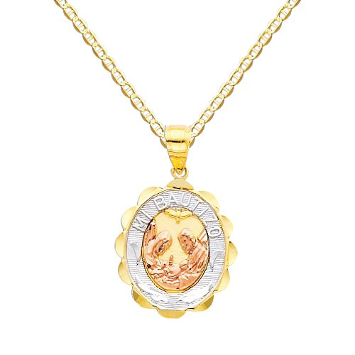 Tri Color Gold Chain (Wellingsale 14k Tri-color Gold Polished Religious Baptism Charm Pendant with 1.5mm Flat Mariner Chain Necklace - 18