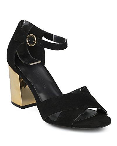 HD72 Collection Trendy Fashion Metallic Everday Wild Heel Strap Alrisco Diva Metallic Sandal Heel Chunky Black Sandal Heel Suede Faux Versatile Women Ankle by Block Wedding Dressy UWWBpfcZ
