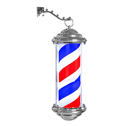 """AKWEA 15.7"""" Barber Pole Led Light,Outdoor Classic Style Hair Salon Barber Shop Sign,Rotating Illuminating Red White Blue Rotating Strips Waterproof Save Energy"""