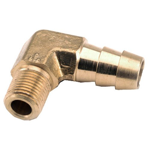 """UPC 719852952084, ANDERSON METALS 757020-0606 3/8"""" Hose I.D. x 3/8"""" Male Pipe Thread Brass 90 Degree Barb Insert Elbow"""