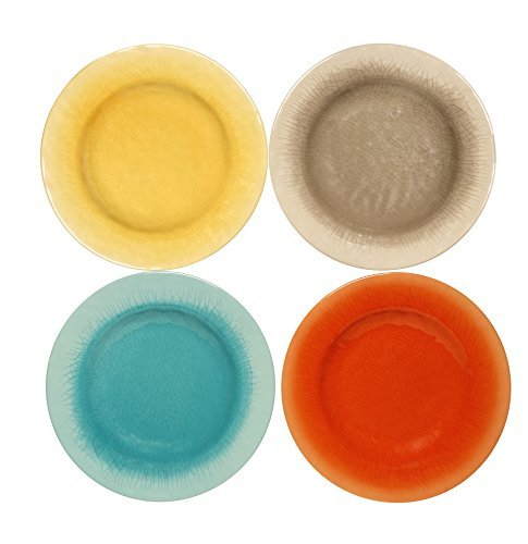Melange 12-Piece 100% Melamine Dinnerware Set (Crackle Collection ) | Shatter-Proof and Chip-Resistant Melamine Plates and Bowls | Color: Assorted | Dinner Plate, Salad Plate & Soup Bowl (4 Each)