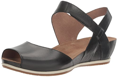 Dansko Women's Vera Flat Sandal, Black Burnished, 37 M EU (6.5-7 US)