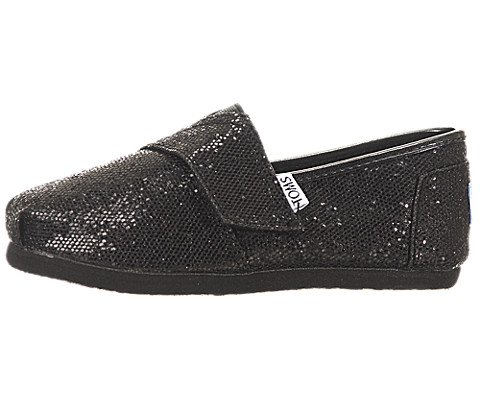Toms Youth Classic Glitter Shoes Black, Size 4 M US Toddl...