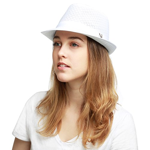 Black Horn Classic Cool Soft Mesh Fedora hat (L/XL, White) ()