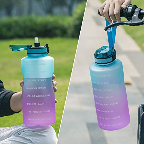 1byone Half Gallon Water Bottle 73oz Large Motivational Water Bottles with Straw Time Marker & Paracord Handle, Big Water Jug for Sports - BPA Free, Leak Proof, Easy Carry, Anti-slip( 2 Straws Included)