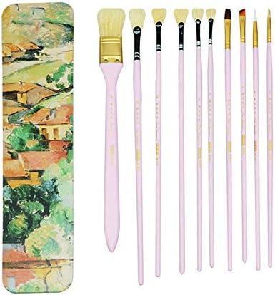 画材筆 快適なナイロンウール 木製のペイントブラシ水彩画 ペイントブラシセット (色 : Pink, Size : FREE SIZE)