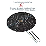 Premium Non-Toxic High Food Grade 4-in-1 BPA Free Heat Resistant Grease Splatter Shield,Drain Board, Strainer,and Cooling Mat