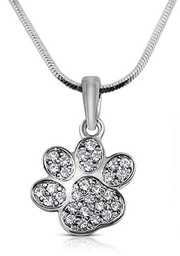 Price comparison product image Mini Petite Sparkling Crystal Dog Puppy Cat Kitten Animal Paw Silver Tone Necklace