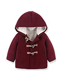 LJYH Boy's winter Wool Peacoat Toggle Hooded Jacket Kids Windbreaker 2-8 years
