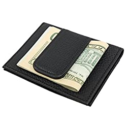 Men's Leather Credit Card Holder Wallet with Two ID Windows One Size Black