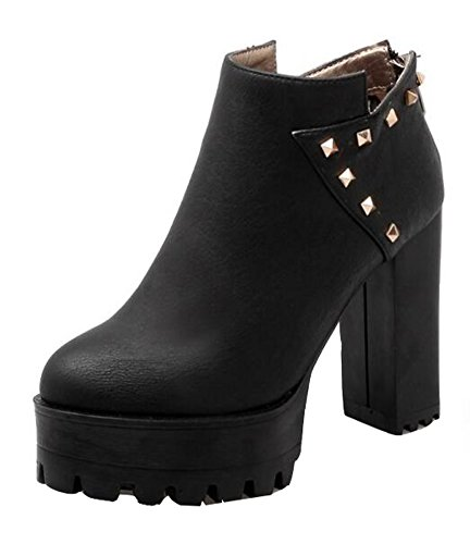 Boots Womens Toe Zipper Winter Platform High CHFSO Ankle Waterproof Stacked Studded Heel Round Black Fashion XxOwd4