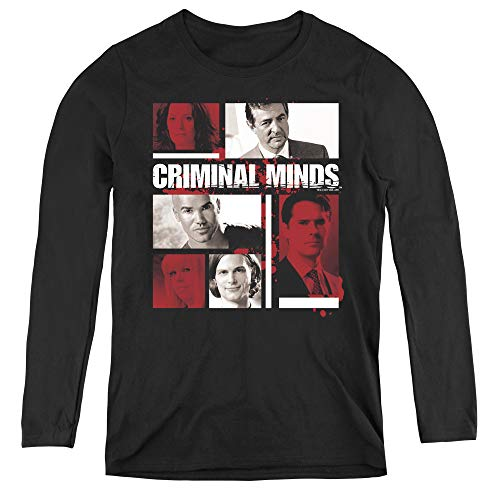 Criminal Minds Character Boxes Adult Long Sleeve T-Shirt for Women, Large -