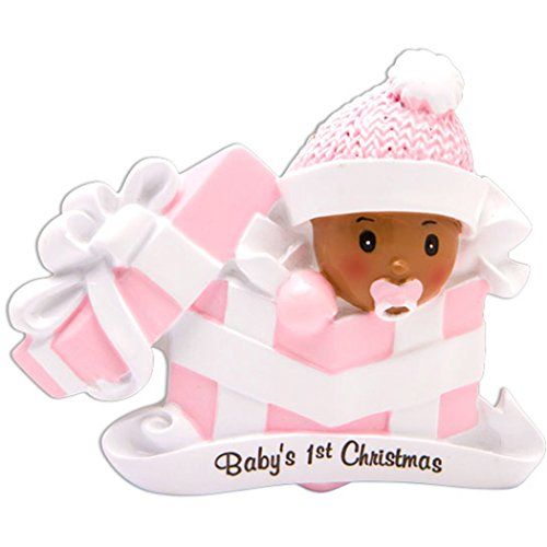 (Personalized Christmas Baby's 1st Girl in Present Tree Ornament 2019 - African American Hat Gift Box Pack God's New Mom Shower Holiday Grand-Daughter Ethnic Year - Free Customization)