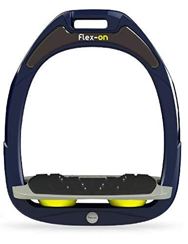 【 限定】フレクソン(Flex-On) 鐙 ガンマセーフオン GAMME SAFE-ON Mixed ultra-grip フレームカラー: ネイビー フットベッドカラー: グレー エラストマー: イエロー 07989   B07KMF4Y1L