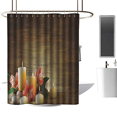 Cinderella Unity Candles - Qenuan Colorful Shower Curtain Spa,Spa Composition with Many Candles Wellbeing Unity Neutrality Icons Calm Happiness Theme, Multicolor,Eco-Friendly,Bathroom Curtain 47